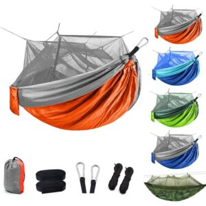 1-2 Person Camping Hammock with Mosquito Net Pop-Up Outdoor Sleeping Mattress Swing Hiking Patio Furniture Max Load 200kg Bedrooms