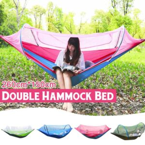 1-2 Person Outdoor Double Hammock with Mosquito Net Parachute Hammock Camping Hanging Sleeping Bed Swing For Camping Hiking Bedrooms