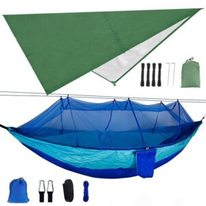 1-2 Person Portable Outdoor Camping Hammock with Mosquito Net High Strength Parachute Fabric Hanging Bed Hunting Sleeping Swing Bedrooms