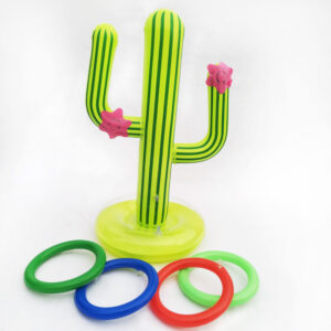 1 Set Inflatable Cactus Swimming Pool Ring Toss Games Pool Toys With 4 Ring Summer Family Outdoor Party Game for Kids Adults Swimming