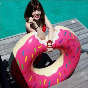 108CM Inflatable Donut Swimming Ring Pool Floats Adult Super Large Gigantic Doughnut Pool Inflatable Life Buoy Swimming Circle Swimming