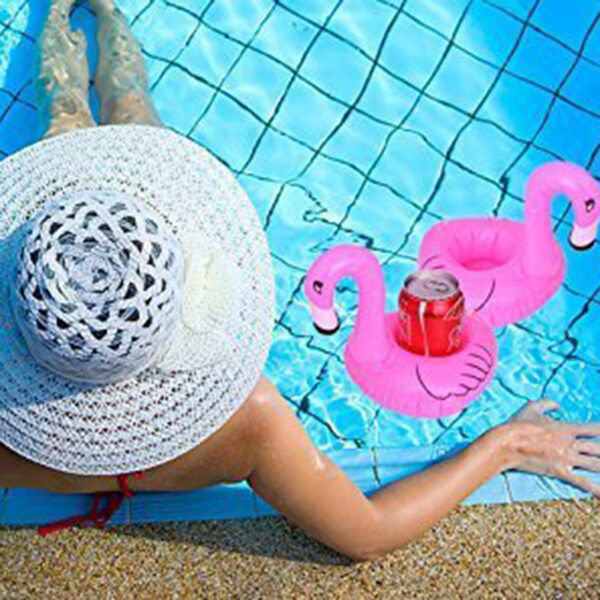 10pcs Air Mattresses for Cup Inflatable Flamingo Drinks Cup Holder Pool Floats Bar Coasters Floatation Devices Pink Swimming
