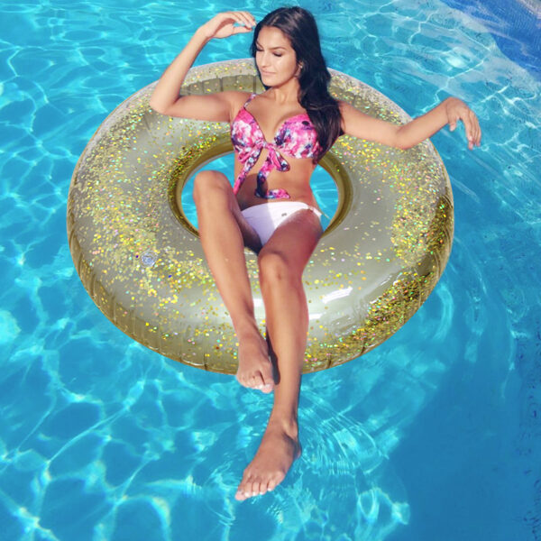 110CM Giant Inflatable Swim Ring With Colorful Glitters Inside For Adults 2018 Newest Summer Women Pool Float Water Toys Piscina Swimming