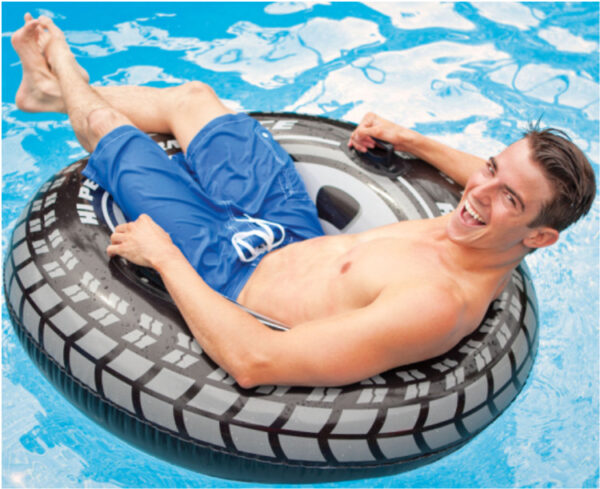 114cm Cool Black Wheel Tire Men Swimming Ring Adult Inflatable Pool Float Summer Water Toys Air Mattress Boia Piscina Swimming