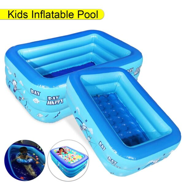 120CM 2/3Layers Children Inflatable Pool Bathing Tub Baby Kid Home Outdoor Large Swimming Pool Inflatable Square Swimming Pool Swimming