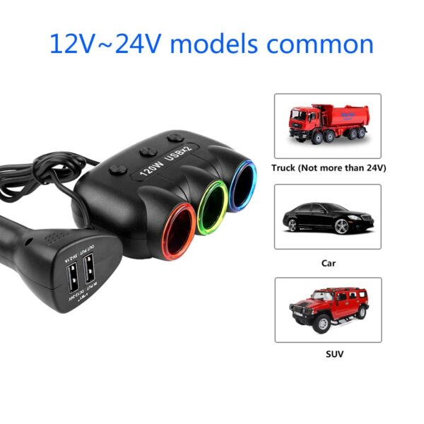 12V-24V 5V/2.1A 120W Multi Socket Auto Car Cigarette Lighter Splitter USB Power Adapter Charger with Switch Charger for iPhone Car accessories
