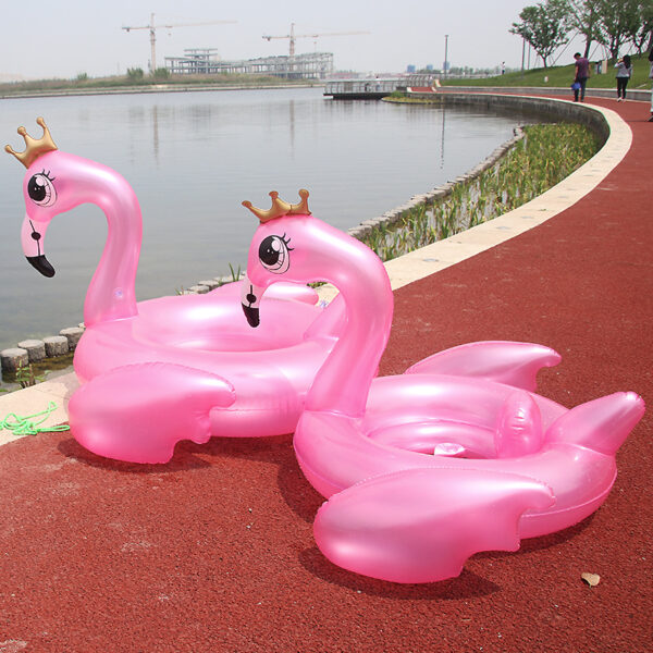 130cm Crown Flamingo Swimming Ring Inflatable Pool Float Adult Kid Pink Toy Water Mattress Circle Boia Piscina Party Accessories Swimming