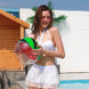 14.15inch Inflatable Pool Ball Anti-Burst Beach Ball Toy PVC Water Playing Ball 3D Pool Float Swimming Ball Party Beach Toy Swimming