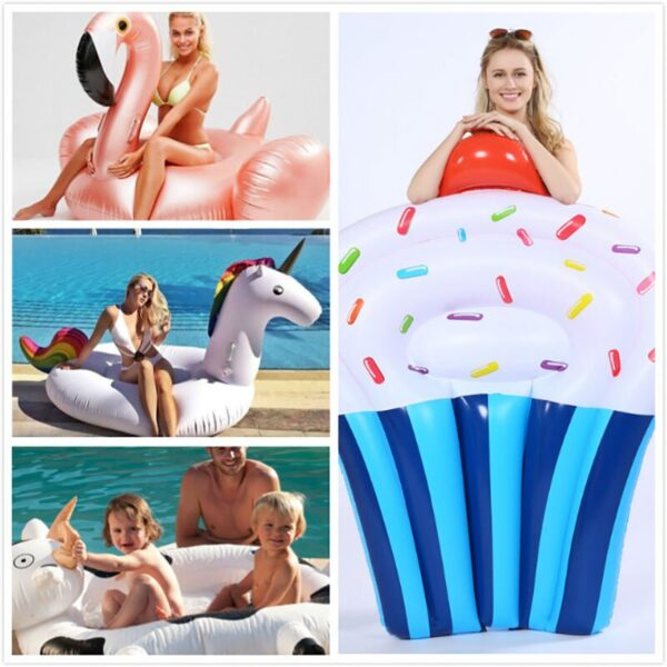 150cm Giant Flower Print Swan Inflatable Float For Adult Pool Party Toys Green Flamingo Ride-On Air Mattress Swimming Ring boia Swimming