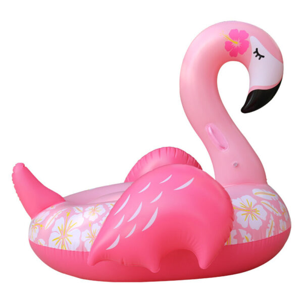 150cm Inflatable Flower Print Giant Flamingo Pool Float Adult Swimming Ring Pool Party Float Air Mattress Swimming Ring Toy Boia Swimming