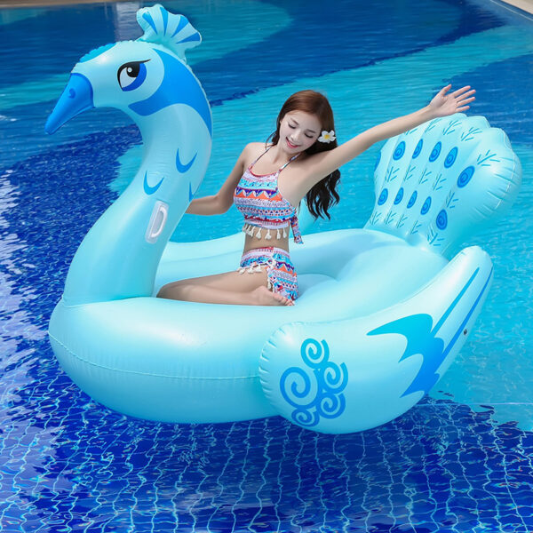 190CM bLUE Peacock Inflatable Pool Float 190cm Giant Swim Ring For Women Men Water Toys Huge Adult Lounger Mattress floating Row Swimming