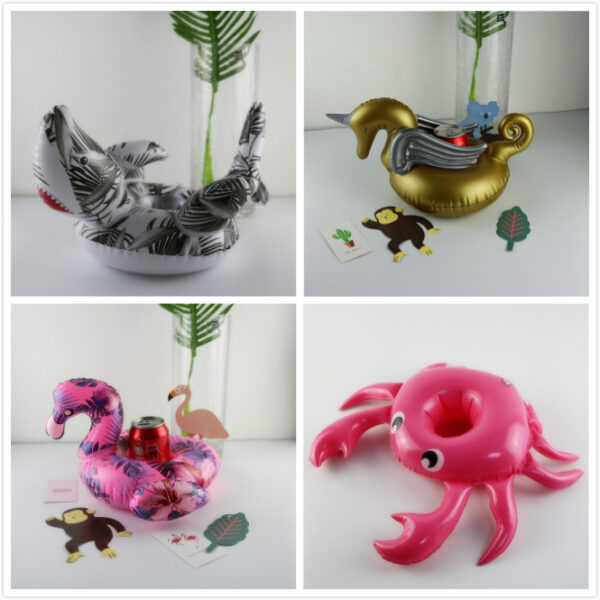1PCS Mini Inflatable Flamingo Unicorn Donut Pool Float Toys Drink Float Cup Holder Swimming Ring Party Toys Beach Kids Adults Swimming