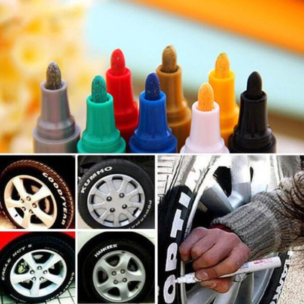 1pcs Colorful Marker Waterproof Lasting White Markers Tire Tread Rubber Fabric Paint Metal Face Permanent Toyo Paint Marker Pen Car accessories