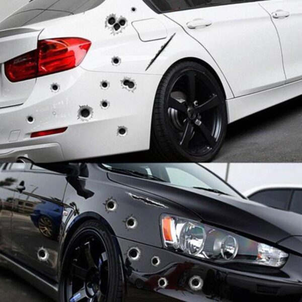1pcs Funny Car Stickers 3D Bullet Hole Car Side Stickers Car-covers Motorcycle Scratch Realistic Bullet Hole Waterproof Stickers Car accessories