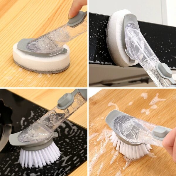 2 In1 Long Handle Kitchen Cleaning Brush with Removable Brush Sponge Dispenser Kitchen Sink Scrubber Dish Washing Brush Tool Kitchen