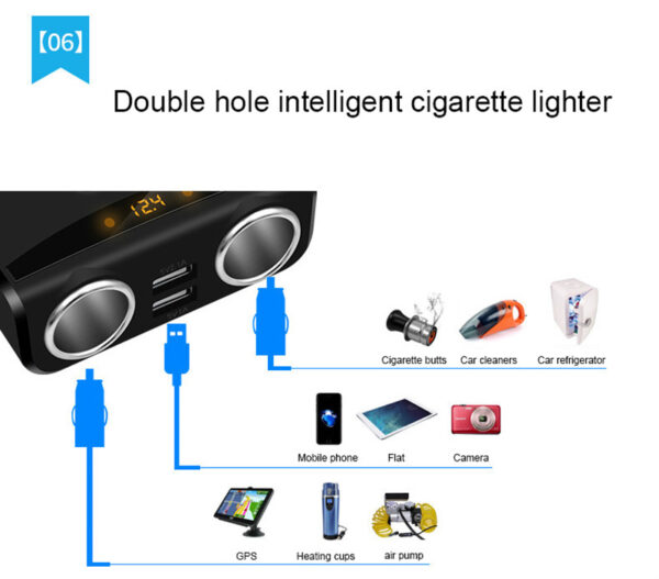2 Way Car Cigarette Lighter Socket Splitter Dual USB Charger Ports Dc 12-24V 3.1A With Voltage Display For Phone DVR GPS Car accessories