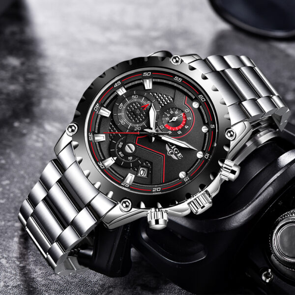 2021 LIGE Fashion Mens Watches Top Luxury Brand Silver Stainless Steel 30m Waterproof Quartz Watch Men Army Military Chronograph Fashion Life & Accessories Iwatch & Accessories