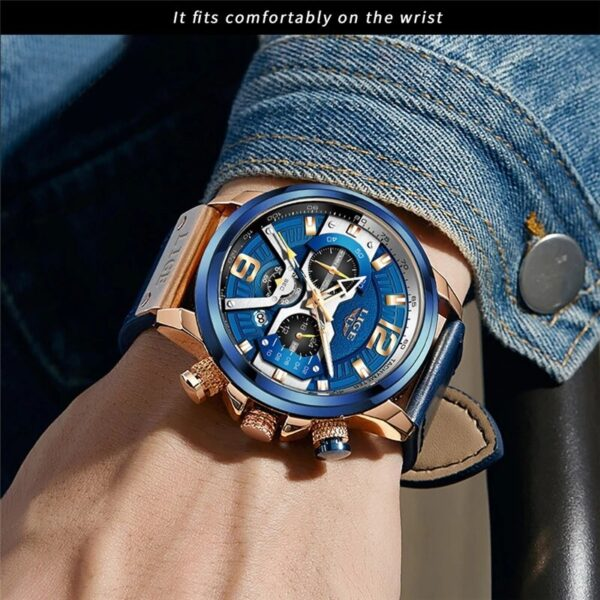 2021 LIGE Men Watches Top Brand Luxury Blue Leather Chronograph Sport Watch For Mens Fashion Date Waterproof Clocks Reloj Hombre Fashion Life & Accessories Iwatch & Accessories