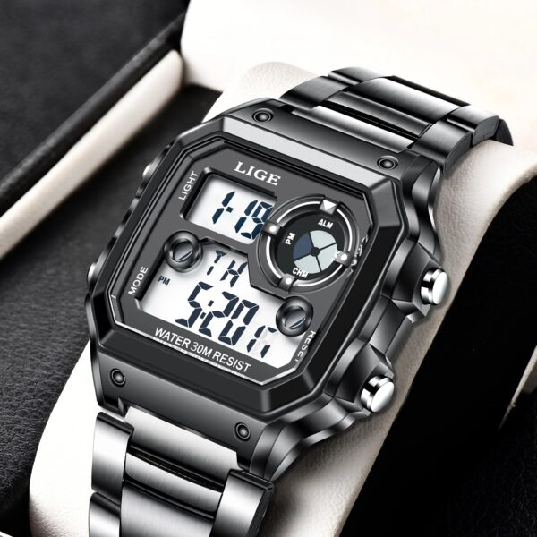 2021 LIGE New Steel Strap Digital Watches Men Sport Watches Electronic LED Male Wrist Watch For Men Clock Waterproof Alarm Hour Fashion Life & Accessories