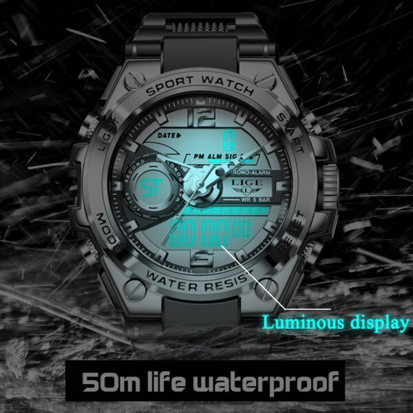 2021 LIGE Sport Electronic Digital Watch For Men Creative Diving Dual Display Mens Watches Top Luxury 50M Waterproof Wristwatch Fashion Life & Accessories Iwatch & Accessories