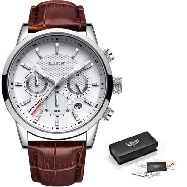 2021 New Mens Watches LIGE Top Brand Leather Chronograph Waterproof Sport Automatic Date Quartz Watch For Men Relogio Masculino Fashion Life & Accessories Iwatch & Accessories