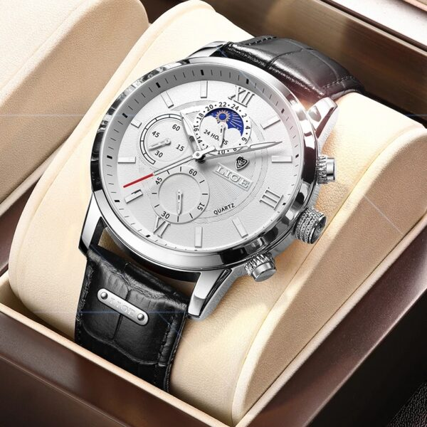 2021LIGE Top Brand Luxury Clock Casual Leather 24Hour Moon Phase Men Watch Sports Waterproof Quartz Watches Mens Chronograph Box Fashion Life & Accessories Iwatch & Accessories