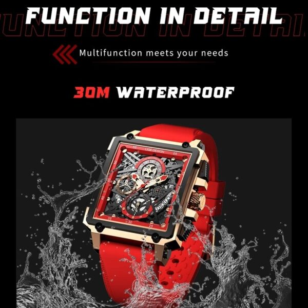 2021New LIGE Top Brand Square Watches for Mens Watch Quartz Casual Fashion Luxury Sports Waterproof Chronograph Reloj Hombre Box Fashion Life & Accessories Iwatch & Accessories