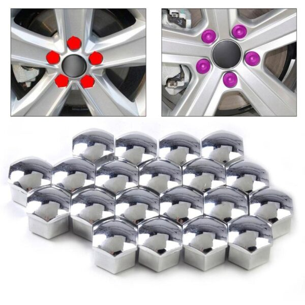 20pcs 17mm Tyre Cars Vehicles Tire Wheel Tyre Screw Cap Decorative Tyre Wheel Nut Screw Bolt Car Styling Dust Proof Protector Car accessories