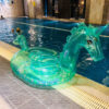 240cm Giant Glitter Unicorn Crystal Green Pink Pegasus Inflatable Pool Float 2018 Ride-On Swimming Ring Air Mattress Water Toys Swimming