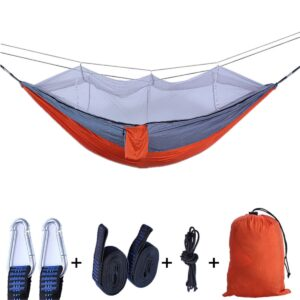 260x140cm 2 Person Outdoor Camping Hammock with Mosquito Net High Strength Parachute Fabric Hanging Bed Portable Sleeping Swing Bedrooms