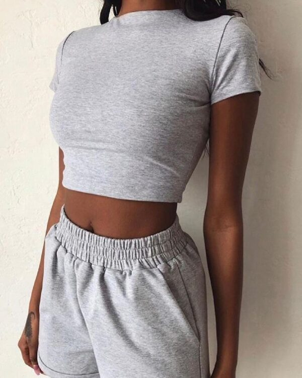 2PCS New Casual Women Summer Clothes Sets Short Sleeve Crop Tops Elastic High Waist Shorts Solid Color Female Outfits Kitchen