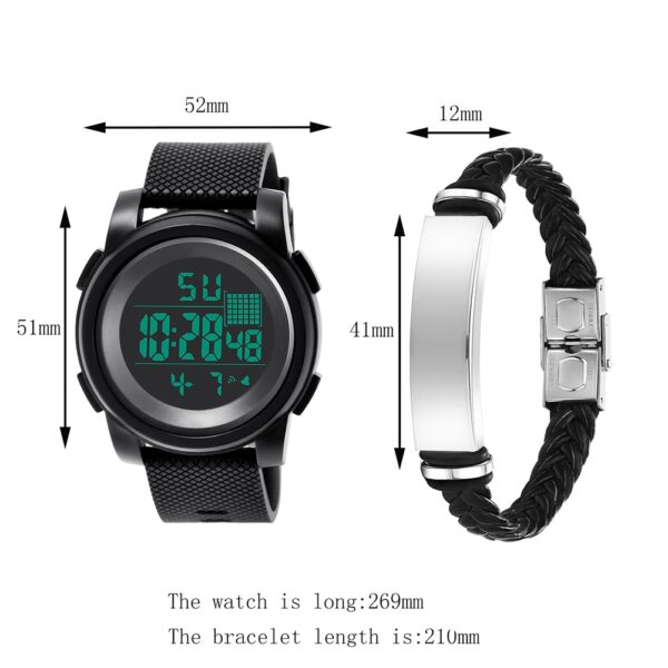 2Pcs Men Sports Waterproof Electronic Digital Luminous Wrist Watch Bracelet Stainless Steel Multifunctional Watch For Gift Fashion Life & Accessories Iwatch & Accessories