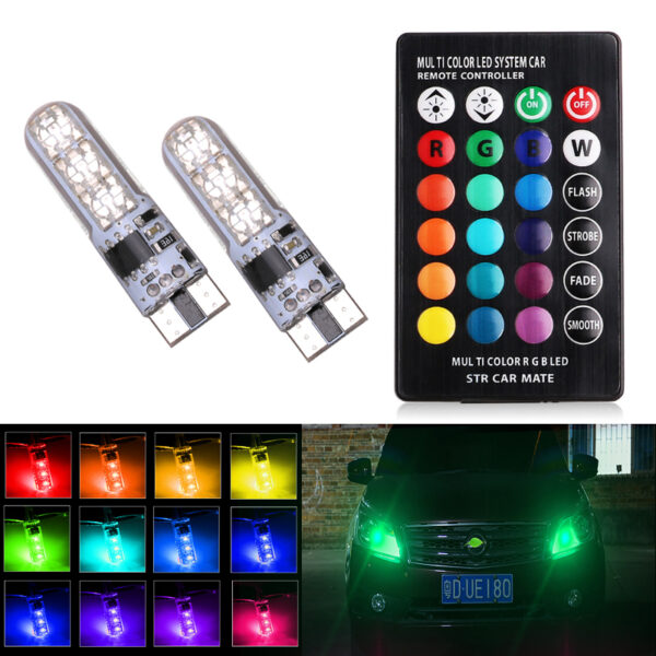 2pcs Car RGB LED Interior Dome Wedge Reading Light Automobiles Wedge Lamp T10 W5W 5050 SMD Strobe Bulb With Remote Controller Car accessories