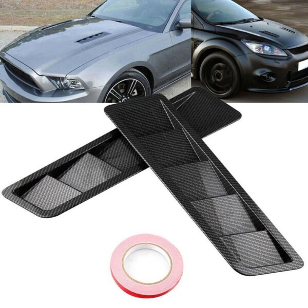 2pcs Universal Carbon Fiber Style Hood Vents For For Mustang Air Flow Intake Hood Self-Adhesive Louver Window Cooling Panel Car accessories