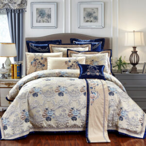 4/6/10Pcs Blue Jacquard Luxury Bedding Set King/Queen Size US king 104X90in Cotton Flat sheet Bed Spread Duvet Cover Pillowcases Bedrooms