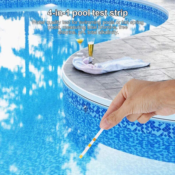 4-In-1 Swimming Pool PH Test Paper Residual Chlorine PH Value Alkalinity Hardness Test Strip PH Tester Pool Cleaner Accessories Swimming