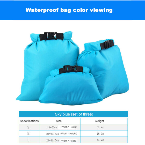 5 Pcs/Set Outdoor Portable Waterproof Dry Bag Sack Storage Pouch Camping Hiking Canoe Floating Boating Ultralight Backpack Swimming