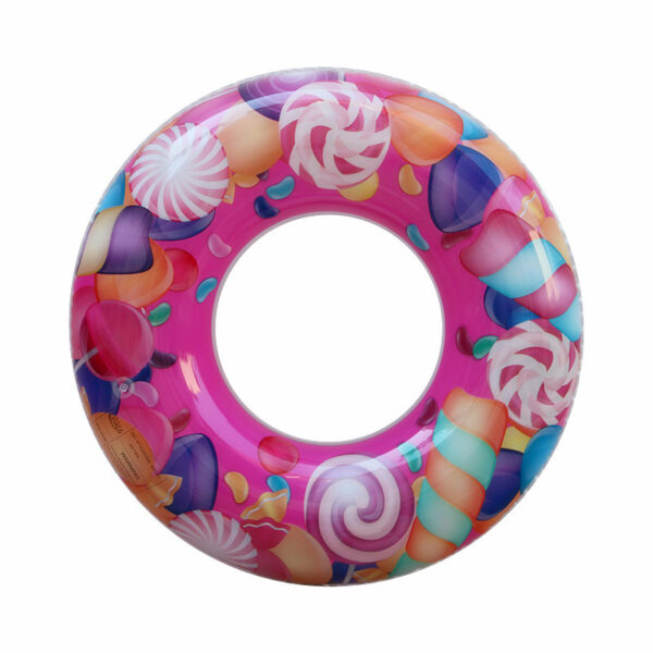 50/60/70/80/90cm Sweet Lollipop Print Swimming Ring For Children Adult Inflatable Pool Float Boys Girls Floats Water Summer Toys Swimming
