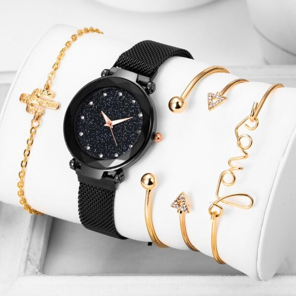 5pcs Luxury Starry Sky Watch Women Watch Ladies Magnet Buckle Wrist Watches Female Clock Bling Ladies Wristwatches Reloj Mujer Fashion Life & Accessories Iwatch & Accessories