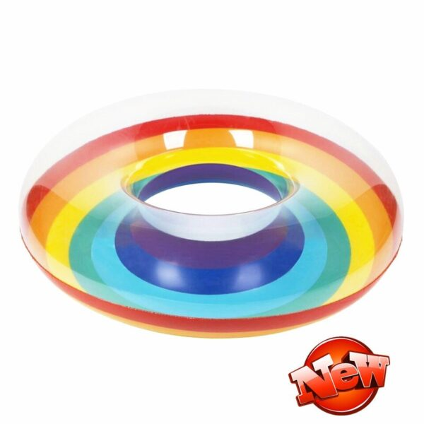 60cm-120cm Giant Inflatable Swiming Ring With Colorful Rainbow For Adults Kids Summer Pool Float Water Toys Piscina Swimming