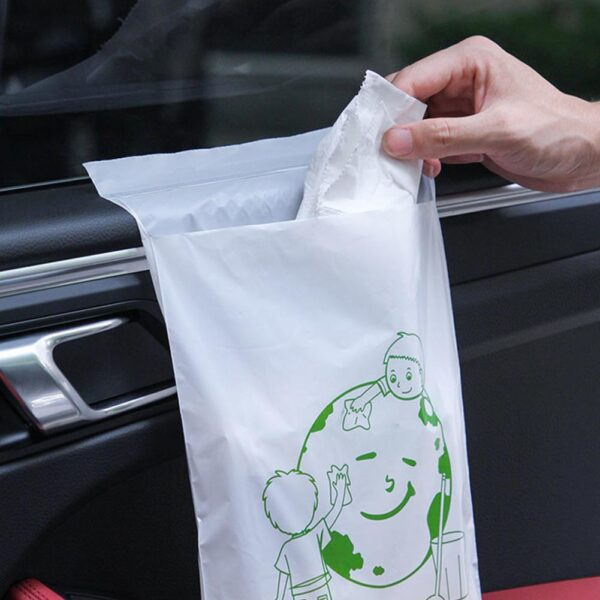 60pcs/set Disposable Self-Adhesive Car Biodegradable Trash Rubbish Holder Garbage Storage Bag For Auto Vehicle Office Kitchen Car accessories