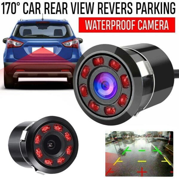 8 LED 170 Degree Round Back Up Cameras Car Rear View Camera Night Vision Reversing Auto Parking Waterproof Monitor Camera Car accessories