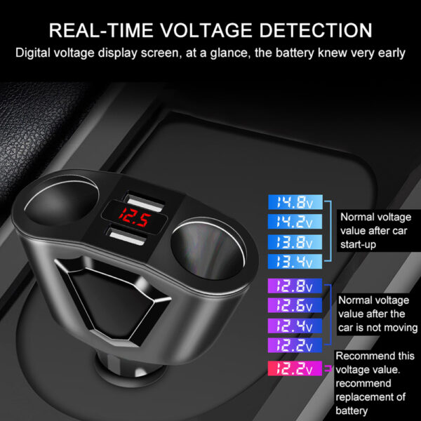 ACCNIC 3.1A Dual USB Car Charger 2 Cigarette Lighter Sockets 120W Power Support Display Current Volmeter For iPhone iPad Samsung Car accessories