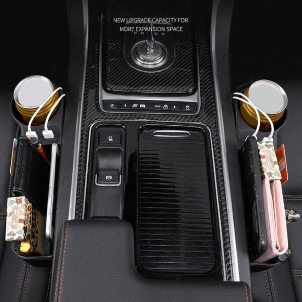 Accessories Car Seat Gap Organizer Storage Box PU Leather Auto Seat Crevice Side Slit Stoweing and Tidying Key Phone Cups Holder Car accessories