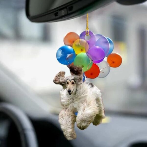 Acrylic Car Hanging Ornament Cute Dog Keychain Hanging Pendant With Colorful Balloon Hanging Ornament Gift Happy Mood New Car accessories