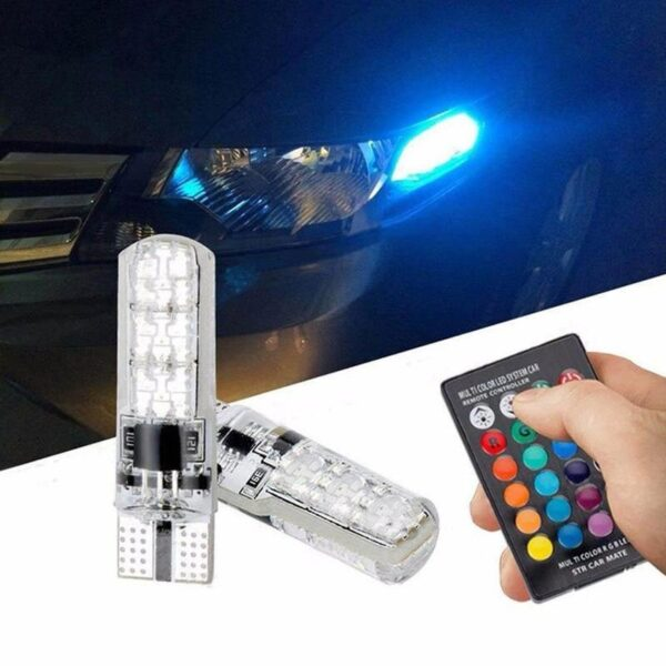 Automotive Led License Lights T10 Rgb 5050 6Smd Remote Car Led Control with Bulb Control Remote R1A9 Car accessories