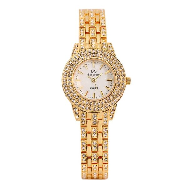 Bs Bee Sister Dress Luxury Gold Quartz Watch Women Small Dial Crystal Diamond Stainless Waterproof Montre Fa1578 Wrist Watch Fashion Life & Accessories Iwatch & Accessories