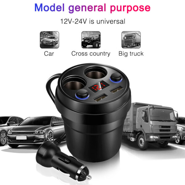 Car Charger Cup Phone Holder Cigarette Lighter DC/5V 3.1A Cup Power Socket Sockets Power Adapter Dual LED USB Ports for iPhone Car accessories