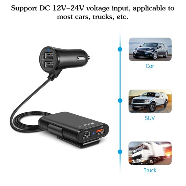 Car Cigarette Lighter 4 Ports QC3.0 2.4A 3.1A USB Car Charger Universal USB Fast Adapter with 5.6ft Extension Cord Cable for MPV Car accessories