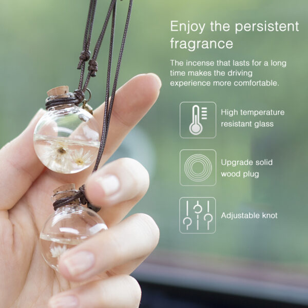 Car Perfume Pendant Hanging Bottle With Flower Essential Oils Perfume Bottle Car Air Freshener Diffuser Automobiles Ornaments Car accessories